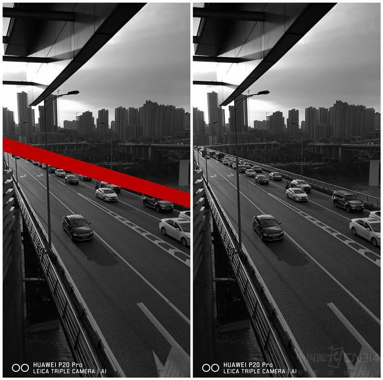 虽然是俯拍,但我们在构图上还是融入了远景,让整个画面显得不那么单调。远景与近景大致呈中心对称,分界线如左图所示,也是天然的。另外,为了让俯拍元素更有层次,我也是等了一小会儿,在左边两车道只有一辆车行驶在正中、右边两车道车辆连车线的时候,我迅速对焦按下快门。(PS:因为红绿灯的缘故,只要不是上下班高峰期,这种车道上有多与少对比的时机比较多;另外,个人觉得这张照片把天空部分裁掉之后可以作为大众的宣传海报,大家觉得呢?
