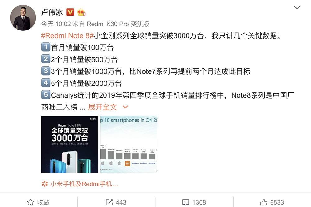 红米Note8销量破3000万 究竟靠的是什么